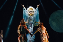 Alan Richardson as Mermaid Queen with Michael Mahony & Rhiannon Chesterman © Johnny Frazer. Peter Pan, Lyric 2019.