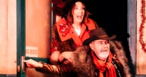 Ali White & Alan McKee © Johnny Frazer. Driving Home For Christmas, Lyric 2019. Written by Grimes & McKey; Directed by Frankie McCafferty; Choreography – Deborah Maguire; Set – Stuart Marsall; Costume – Gillian Lennox & Erin Charteris.
